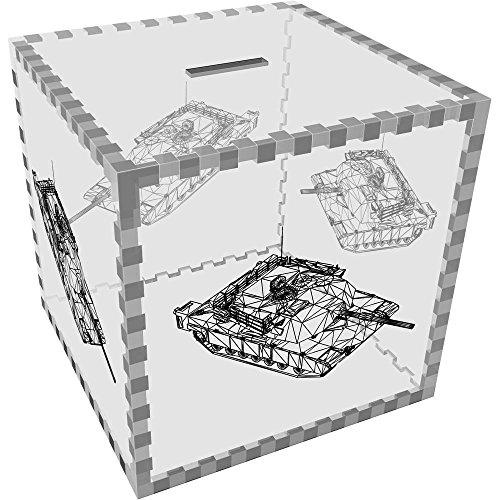 Azeeda Groß \'Wireframe Panzer\' Klar Sparbüchse / Spardose (MB00038218)