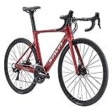 SAVADECK Bici corsa strada carbonio, 700c Bici da strada con freno a disco con Shimano SORA R3000 a 18 marce e sistema coassiale bici uomo bicicletta (Rosa, 56cm)
