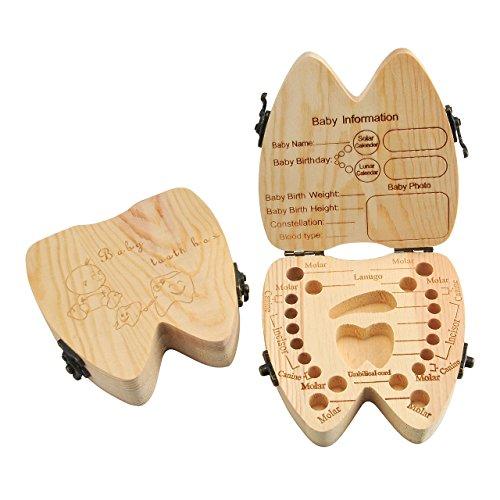 mogoko Zahndose Holz Baby sparen Milch Zähne Wollhaaren Haar Aufbewahrungsbox aus Holz, niedlichen Holz Baby Zähne Aufbewahrungsbox Delicious Souvenir Zähne Saver Box für Kinder Junge & Mädchen