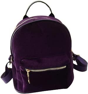 Gaorui Women's Fashion Suede Backpack Zipper Handbag Mini Satchel Retro School Bag