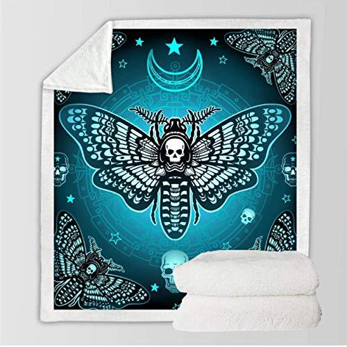 DJSK Moth Sherpa Throw Blanket Ropa de Cama mullida Colchas Mariposa Sofá de Felpa Manta Dormitorio Siesta Manta de Oficina 150 * 200cm