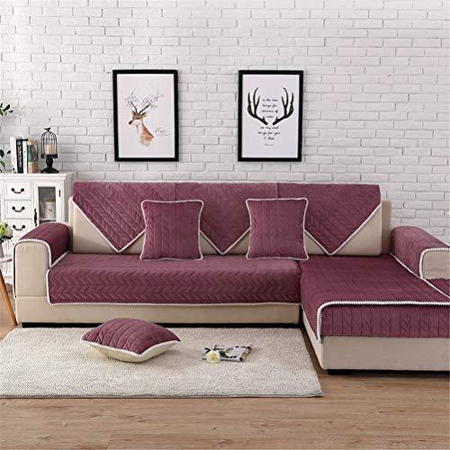ADGAI Acolchado de Felpa,Antideslizante Color sólido Sofá Fundas Universales Fundas de Toalla de sofá Protector de Muebles 1 Pieza,Rojo,110 * 240cm