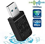 Clé WiFi Adaptateur USB WiFi, AC 1200Mbps Mini Dongle Wireless Adaptateur WiFi, USB 3.0(2.4G/300Mbp+5G/867Mbp) Double Band, Compatible avec Windows XP/7/8/10/Vista/Linux/Mac OS