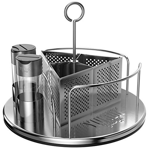 Yukon Glory Rotating Organizer Caddy For Utensils, Sauces, Condiments, Napkins, Salt and Pepper - Ideal For BBQ, Tabletop, Picnics and Restaurants