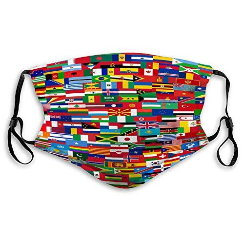 Atmungsaktiver Mundschutz mit elastischem Ohrschlaufenset Fahnen Alle Länder in Mundabdeckungen