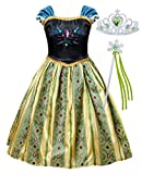 HenzWorld Little Girls Dresses Costumes Clothes Princess Fancy Halloween Birthday Party Role Pretend Cosplay Outfits 2pcs Accessories Kids Age 6 Years Green