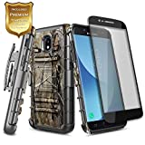 Galaxy J3 2018 Case, J3 Orbit/J3 Achieve/J3 Star/Express Prime 3/Amp Prime 3/Sol 3/J3 V 3rd Gen/J3 Aura, Nagebee Belt Clip Holster Shockproof Case with Tempered Glass Screen Protector -Camo