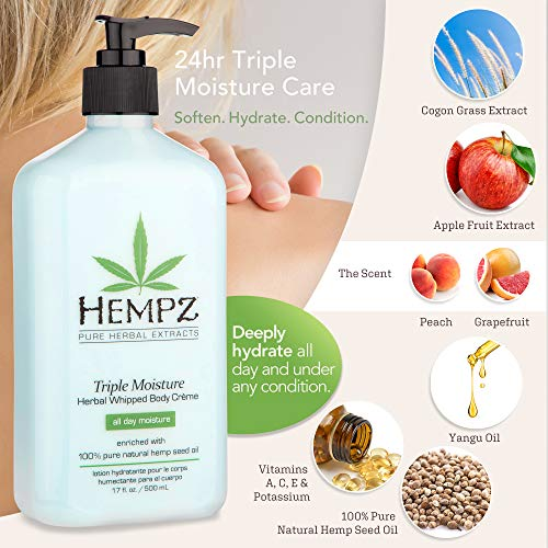 51WYCJmA1RL - Hempz Natural Triple Moisture Herbal Whipped Body Creme with 100% Pure Hemp Seed Oil for 24-Hour Hydration - Moisturizing Vegan Skin Lotion with Yangu Oil, Peach and Grapefruit - Enriched Moisturizer