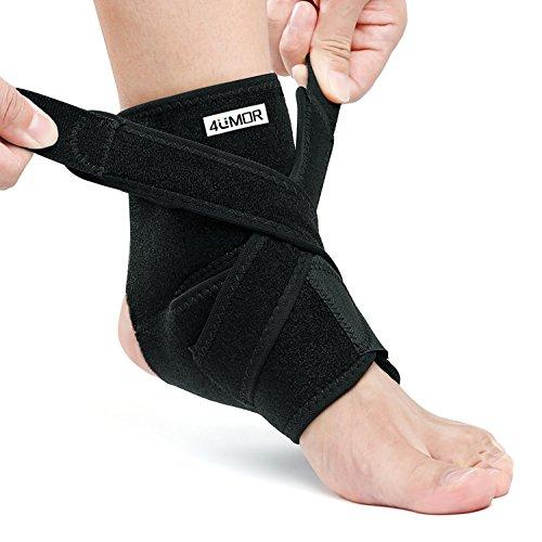 4UMOR Tobillera Estabilizadora Ajustable Protección Lastres del Tobillo Pie Soporte para Esguince Futbol Boxeo Voleibol Fitness Ejercicio Running Talla Universal(M)