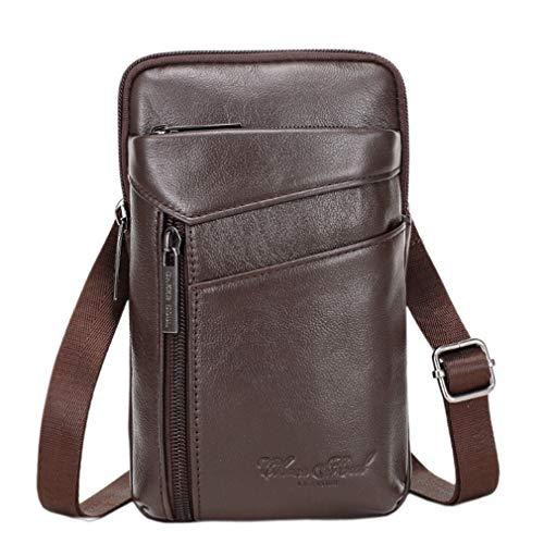 Bolso bandolera de piel para hombre, para llevar en la cintura, para viajes de negocios, al aire libre, campamento, teléfono celular, cartera Marrón marrón Small