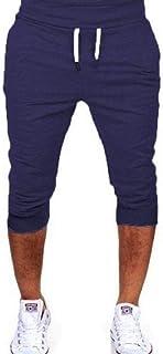 FRPE Mens Jogger Drawstring Color Solid Trousers Gym Workout Capri Shorts Sweatpants