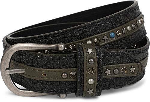 styleBREAKER cinturón de remaches en una moderna óptica trenzada, recubie...