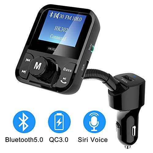 Uekars Auto FM Transmitter Bluetooth 5.0 Radio Adapter, QC3.0 Car Kits mit Freisprechfunktion, TF Card Music Play mit AUX-Ausgang, Support Siri Voice Assistant, EIN/Auss Chalter