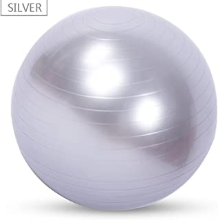 Isafish Yoga Exercise Ball Anti-Slip Ball Chair Anti-Burst Balance Ball Extra Thick Birthing Ball with Pump Silver Gray 45cm 【400 Grams】 Children Recommended