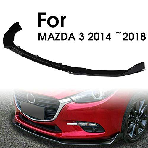 3 Pezzi Copertura del Labbro del Paraurti Anteriore Auto Splitter Trim Copertura del Labbro Diffusore Paraurti Anteriore Ala Adatta per Mazda 3 Axela 2014-2018 Nero Lucido