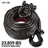 Synthetic Winch Rope 3/8' x 100' - 23,809 Ibs Winch Line Cable Rope with Protective Sleeve and Shackle for 4WD Off Road Vehicle SUV JEEP (Black)