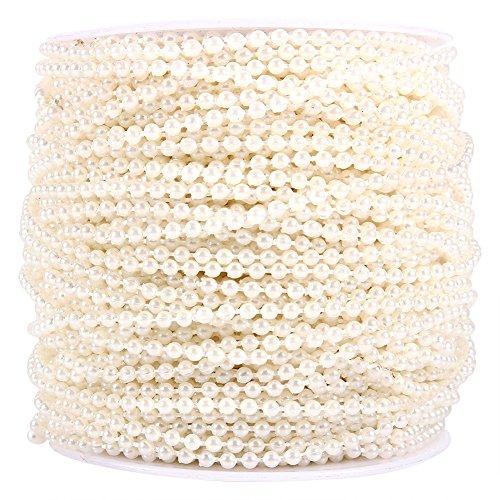 50m Bobina di 3mm Perle Perline Decorazione di Nozze Ghirlanda Incatenato Centro ( Colore : Beige )