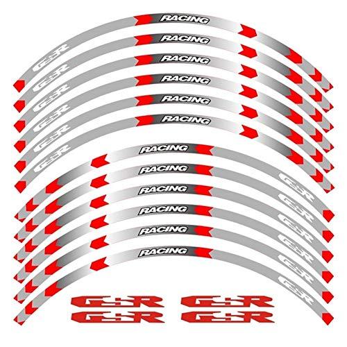 Rueda de la motocicleta decals pegatinas reflectantes llanta rayas R moto for SUZUKI GSXR GSX R GSR pegatinas moto (Color : B Red)