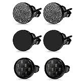 Herren Damen 3 Paare Edelstahl Ohrstecker Set schwarz, OIDEA Punk Rock vintage rund Creolen Ohrringe Set Huggie Piercing Ohr Stecker Durchmesser 6mm 8mm 10mm (10mm)