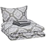 AmazonBasics 6-Piece Comforter Bedding Set, Twin / Twin XL, Grey Medallion, Microfiber, Ultra-Soft