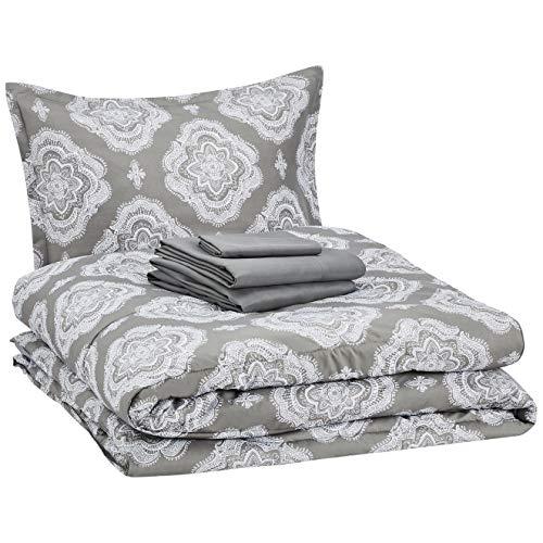 AmazonBasics 6-Piece Comforter Bedding Set, Twin / Twin XL, Grey Medallion, Microfiber, Ultra-Soft