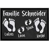 SpecialMe® Fußmatte mit Namen Familie personalisiert Fußabdrücke Vornamen Familienname rutschfest & waschbar weiß 60x40cm