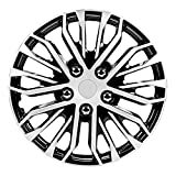 Pilot Automotive WH141-16S-B 16 Inch Apex Black and Silver Universal Hubcap Wheel Covers for Cars | Set of 4 | Fits Toyota Volkswagen VW Chevy Chevrolet Honda Mazda Dodge Ford and Others