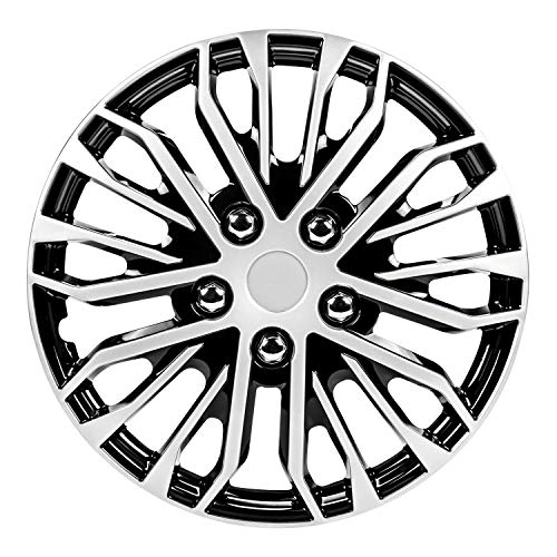 Pilot Automotive WH141-16S-B 16 Inch Apex Black and Silver Universal Hubcap Wheel Covers for Cars   Set of 4   Fits Toyota Volkswagen VW Chevy Chevrolet Honda Mazda Dodge Ford and Others