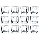 12er SET Teelichtgläser CUBE H. 10cm 10x10cm Glas transparent eckig Sandra Rich