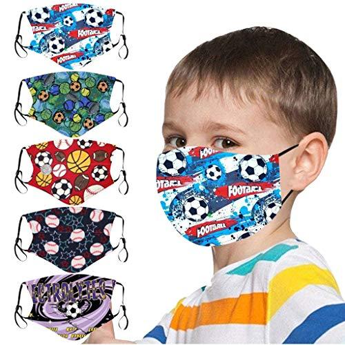 5 Stück Mundschutz Kinder Multifunktionstuch 3D Cartoon Druck Maske Animal Print Atmungsaktive Baumwolle Stoffmaske Waschbar Mund-Nasenschutz Bandana Halstuch für Jungen Mädchen (F)