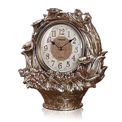 Reloj de Manto nórdico de Alta Gama, Reloj de Chimenea Reloj de Mesa silencioso de Resina Reloj Digital de Campana de Asiento Reloj nórdico Retro Reloj con Pilas Regalo Sala de Estar Decorac