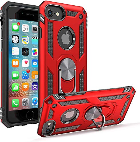 ABenkle Compatible with iPhone 8 Case iPhone 7 | 6 | 6s Case Grip Holder Stand Case with Built-in Iron for Car Mount Military Grade Shockproof Hybrid Protective Bumper Cover for iPhone 6 s 7 8, Red