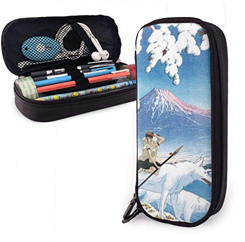 Mäppchen Big Capacity High Capacity Pen Bleistift Pencil Pouch Box Organizer Practical Bag Holder with Zipper for School & Office - 7.88x3.54x1.58 Inches - Princess Mononoke & The Wolves