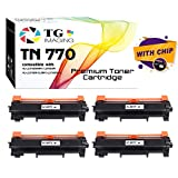 (4 Pack, Super High Yield) TG Imaging Compatible Toner Cartridge for Brother TN-770 TN770 for HL-L2370DW MFC-L2750DW Printers