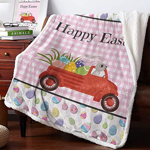 AEMAPE Manta de Tiro - Happy Easter Cute Bunny Egg Truck Floral Pink Buffalo Check Plaid Mullida Manta súper Suave Manta para sofá Cama Sofá 60 'x50'