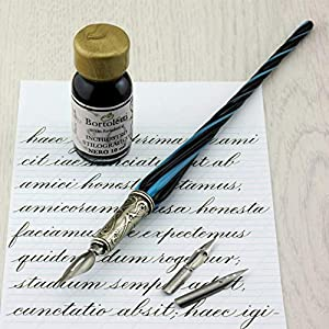 Bortoletti Fonderia Artistica - Pluma caligráfica Molin de cristal de Murano, color Negro