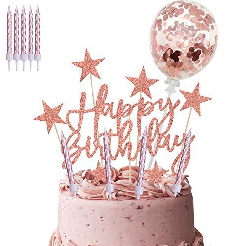 iZoeL Oro Rosa Compleanno Torta Topper, Banner Di Buon Compleanno Coriandoli Palloncino Stella Candela Decorazione Della Torta, Per Ragazza Feste Di Compleanno