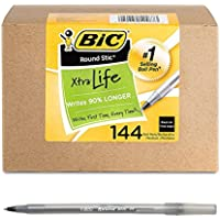 144-Count BIC Round Stic Xtra Life Ball Point Pen