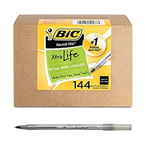 BIC Round Stic Xtra Life Ballpoint Pen, Medium Point (1.0mm), Black, Flexible Round Barrel For Writing Comfort, 144-Count