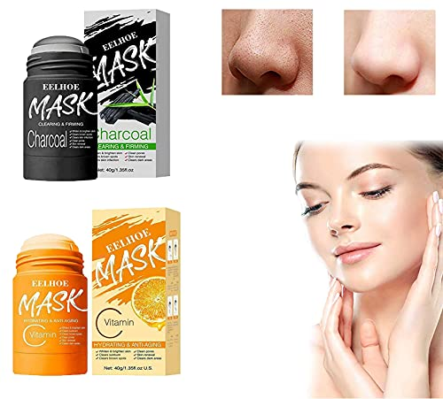 VC/Bamboo Charcoal Purifying Clay Stick Mask,Deep Cleansing Oil Control For All Skin Types People 2 Pieces (VC)