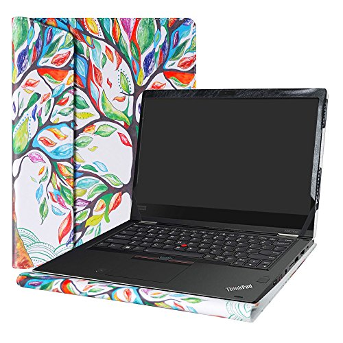 Alapmk Diseñado Especialmente La Funda Protectora de Cuero de PU para 13.3' Lenovo Thinkpad X380 Yoga & ThinkPad Yoga 370 Ordenador portátil(Not fit Thinkpad X390/X390/L380/L380 Yoga),Love Tree