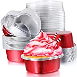 Aluminum Foil Cake Pan Heart Shaped Cupcake Cup with Lids 100 ml/ 3.4 ounces Disposable Mini Baking Cups Pan with Lid for Valentine Mother's Day Wedding Christmas Birthday