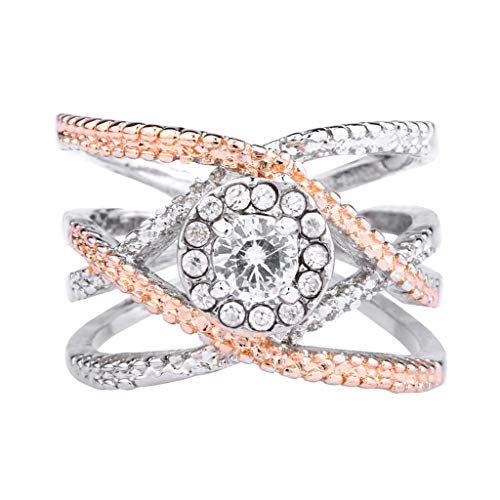 ALOVEMO Silver Elegant Flower Engagement Ring with Clear Fine Jewelry Gift for Women Size 6-10 (Gold, 8)
