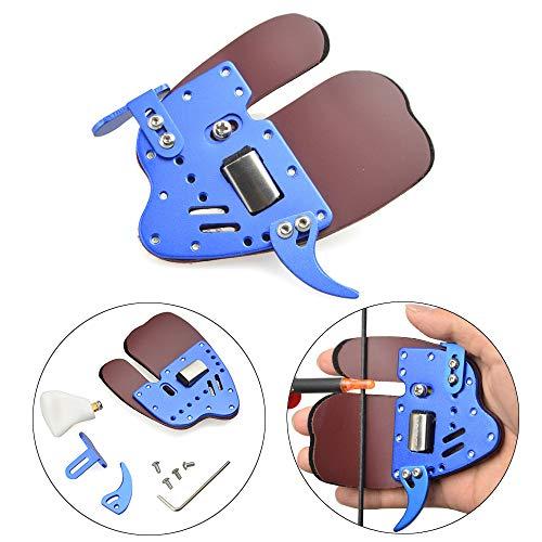 AMEYXGS Tiro al Arco Pestañas de Dedos Equipo de Protección Protector de Dedos para Mano Derecha e Izquierda (Azul, Mano Derecha)