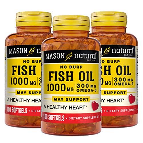 Mason Natural No Burp Omega-3 Fish Oil 1000mg Odorless Fish Oil, 100 Softgels, 3 Count
