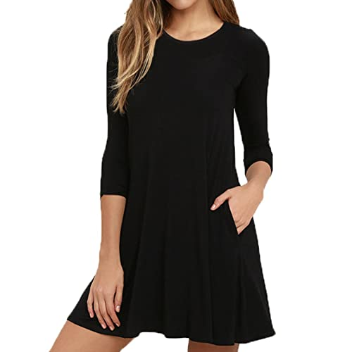 19a64c934ab6 Viishow Womens Round Neck 3 4 Sleeves A-line Casual Tshirt Dress with Pocket