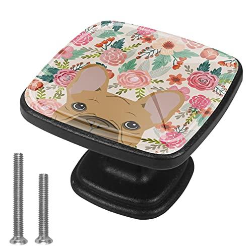 Pomos para cajones de tocador Pomos de puerta Pomos de armario Bulldog francés Kawaii Beige Armario de bricolaje,cocina,baño,armario,tiradores con tornillos 4piezas