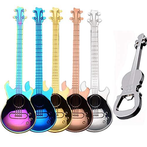 ESRISE Guitarra Cucharillas de café, Colores Cuchara de Acero Inoxidable Ideales para café, postres, Bebidas, Mezclar o...