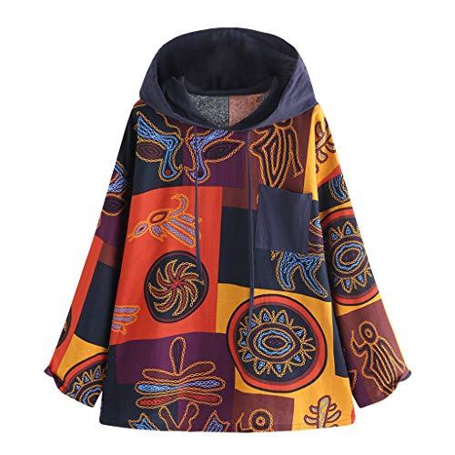Aoogo Damen Vintage-Druck aus Baumwolle und Leinen Jacke Mantel Herbst Winter Sweatshirt Steppjacke Kapuzenjacke Frauen Druckknopf Tasche Langarm Hoodie Pullover Outwear Coats Mode Tops