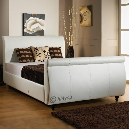 Hf4you Limcho Faux Leather Sleigh Bed - 3ft Single - Frame Only (White)